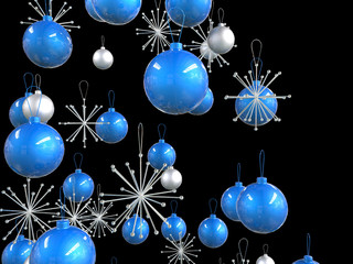 Close up of blue and silver xmas decorations