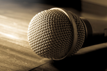 Sepia color filtered of microphone.