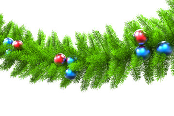 Christmas tree branch - isolated on white - closeup