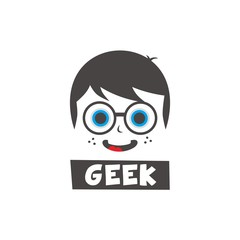 young geek cartoon