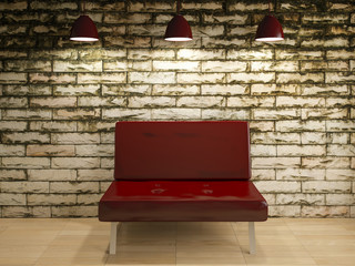 old wall and sofa chair interior design, 3d rendering