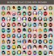 Set of round flat icons with women. - 73276684