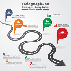 Road infographic layout. Vector illustration.