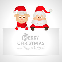 Santa Claus and sheep with a place for text greeting card
