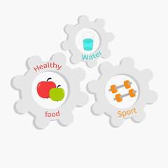 Cogwheel gear set  water apple dumbell Healthy lifestyle Flat