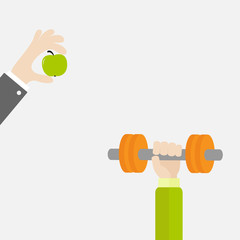 Hands holding dumbell apple Fitness healthy lifestyle Flat