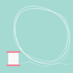 Spool of thread round frame Flat desigh Love card