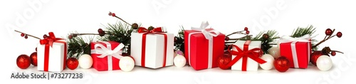 Christmas border of branches and red and white gifts - 73277238