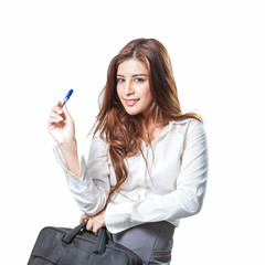 Young business woman attractive with handbag and a pen
