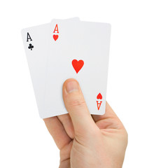 Hand with poker cards