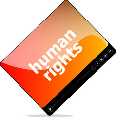 Social media: media player interface with human rights word