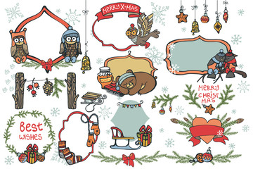 Christmas graphic elements,animals set