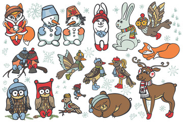 Christmas animals set.Funny forest.Winter