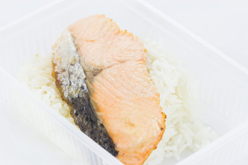 Roasted salmon fillets with rice