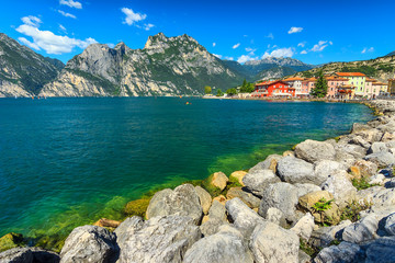 The beautiful Lake Garda and Torbole resort town,Italy,Europe