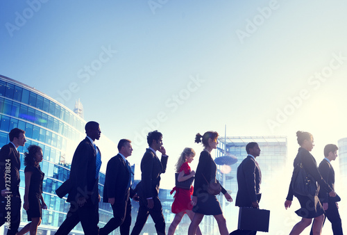 Business People Walking Back Lit Concepts