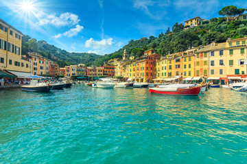 Portofino fishing village on a summer day,Cinque Terre,Italy