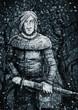 Постер, плакат: Воин с мечом ночью в лесу