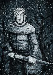 Воин с мечом ночью в лесу
