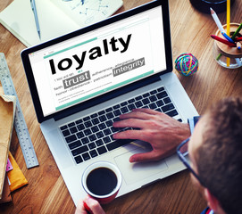 Digital Online Dictionary Meaning Loyalty Concepts