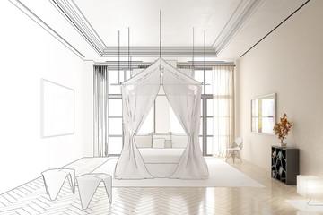 Schlafzimmer im Licht (Zeichnung))