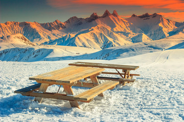 Rest area in the French Alps,La Toussuire,France,Europe