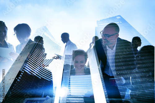 canvas print picture Business People Silhouette Transparent Building