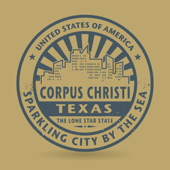 Grunge rubber stamp with name of Corpus Christi, Texas
