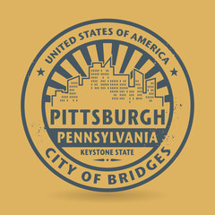 Grunge rubber stamp with name of Pittsburgh, Pennsylvania