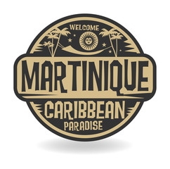 Stamp or label with the name of Martinique