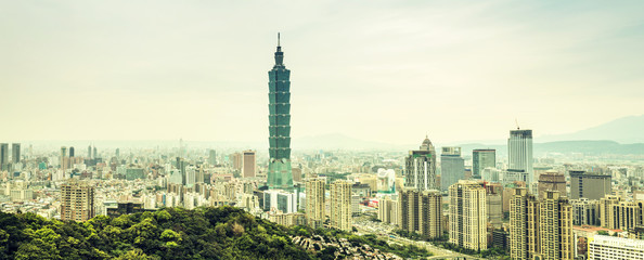 panoramic cityscape and landmark of taiwan
