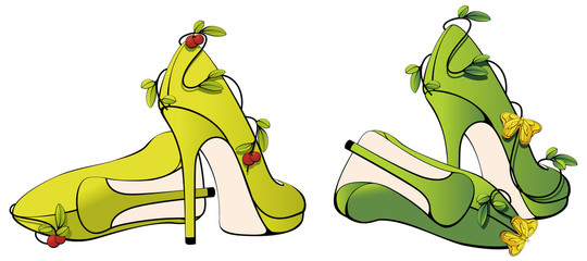 WOMEN SHOES WITH BUTTERFLY UND BERRY