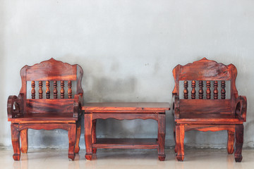 wood furniture chair and table