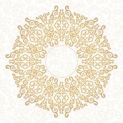 Golden ornament. White background.