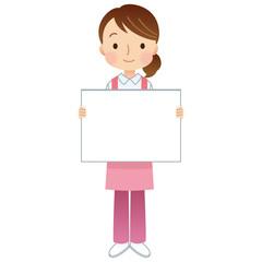 女性 エプロン 介護福祉士