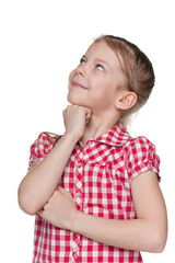 Curious little girl on the white background