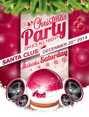 Vector Christmas Party design with holiday typographiy elements
