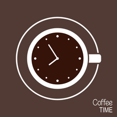 Cup of coffee with clock on its surface. Coffee time concept