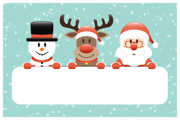 Giftcard Snowman, Rudolph & Santa Banner Snow