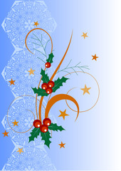 Illustration of a holly berries on abstract background