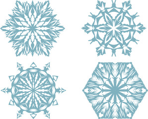 Set of snowflakes,white background. Vector illustration.