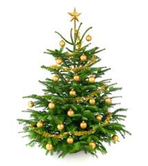 Schöner, gold geschmückter Weihnachtsbaum