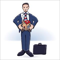 Manager mit Haus und Hausbau