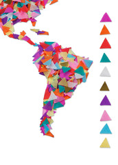 Map of South America made of confetti / with clipping path