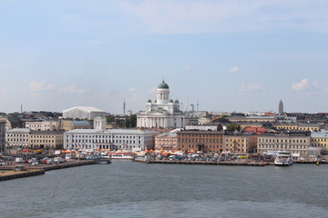 The panorama of the Helsinki city. Helsinki Cathedral.