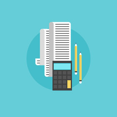 Annual tax calculations flat icon illustration