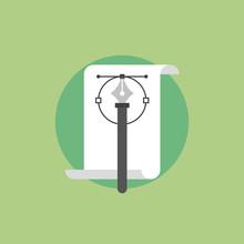 Pen tool flat icon illustration