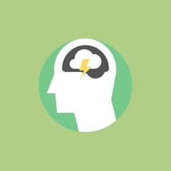 Thinking and ideas flat icon illustration
