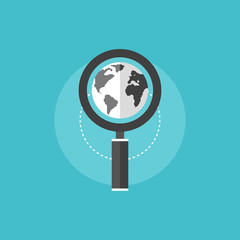 Global SEO flat icon illustration