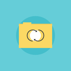 Network folder flat icon illustration